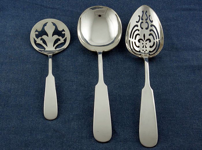 Erickson Silver Pierced and Slotted Spoons